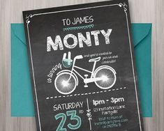 Chalkboard Birthday Invitation - Edit and Print as many copies as you like / Hipster / Bike / Bicycles / Chalk / Blackboard Party Invitation by MontyandMeInvites on Etsy