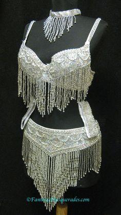 M/L Professional Belly Dance Sequin Beaded Bra Top,Armband Skirt Belt Choker Set