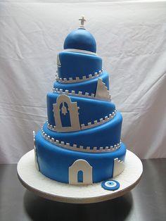 greek wedding cake Love it! Gorgeous Cakes, Pretty Cakes, Amazing Cakes, Cupcakes, Cupcake Cakes, Greek Cake, Mykonos, Santorini, Themed Wedding Cakes