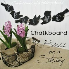 Easy and Free...Chalkboard Birds on a String