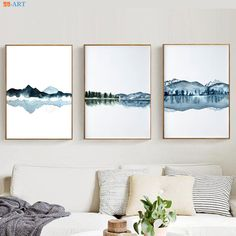 Watercolor Abstract Landscape Canvas Painting Posters and Prints blue wall art - Wall Art Canvas Painting Landscape, Landscape Walls, Watercolor Landscape, Abstract Watercolor, Abstract Landscape, Simple Watercolor, Watercolor Trees, Tattoo Watercolor, Watercolor Animals