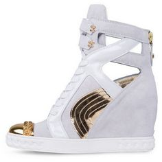 Posh Girl White & Gold Leather wedge Sneakers (295 CAD) ❤ liked on Polyvore featuring shoes, sneakers, multi, hidden wedge sneakers, wedge trainers, leather platform sneakers, wedge sneakers and black leather shoes