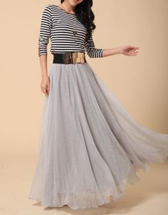 Grey Long Chiffon skirt Maxi Skirt Ladies Silk Chiffon Dress Plus ...