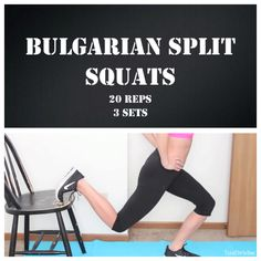 Bulgarian split squats: find a chair or raised platform to put foot against and lunge down, reverse. (Credit: Tess Christine)