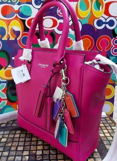 SOLD OUT**COACH LEGACY LEATHER MINI TANNER TOTE 48894**NWT SV/BRIGHT MAGENTA