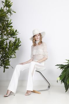 The outfit for an unconventional bride with lace insertion trousers and graphic detail top with lace flounces and a high collar. Divine Atelier, High Collar, Collars, Wedding Gowns, Jumpsuit, Bohemian, Couture, Bride, Chic