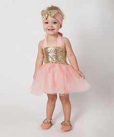Another great find on #zulily! Coral Pink & Gold Sparkle Tutu Set - Infant, Toddler & Girls #zulilyfinds