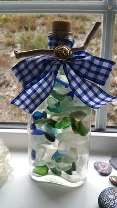 From Southern Ireland. Sea Glass Art, Sea Glass Jewelry, Southern Ireland, Artwork For Home, Glass Bottles, Coastal, Etsy Seller, Pottery, Table Decorations