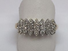 10K YELLOW GOLD LADIES DIAMOND PYRAMID CLUSTER RING SIZE 7 #Cluster