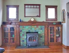 Classic bungalow built-ins, and a gorgeous fireplace! Wood Stove Hearth, Fireplace Hearth, Fireplace Surrounds, Fireplace Design, Fireplace Ideas, Tile Fireplace, Mantle Ideas, Wood Fireplace Inserts, Limestone Fireplace