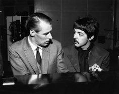 George Martin and Paul McCartney recording Sgt Pepper's Lonely Hearts Club Band, 1967.