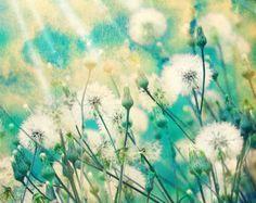 Original abstract art Swarovski® & glitter. Dandelion decor.