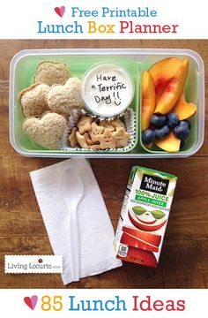 Free Printable School Lunch Box Meal Planner with 85 Lunch Ideas. Helpful ideas for kids school lunches. Back to school lunch recipes. Back To School Lunch Ideas, Kids Lunch For School, Healthy Lunches For Kids, Toddler Lunches, Lunch To Go, Kids Meals, School Menu, School Lunches, Toddler Food