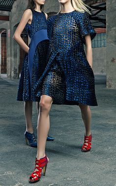 Marine Blue Devore Dress With Front Pleat by Antonio Berardi