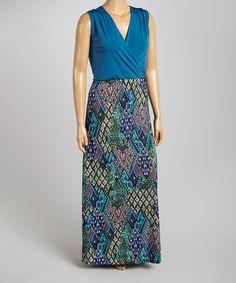 Look what I found on #zulily! Teal & Purple Geometric Surplice Maxi Dress - Plus #zulilyfinds