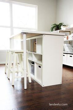 See 20 of the best Ikea Kallax Hacks ideas and the different ways you can DIY them for your home. Use it as a work table for your craft room with added storage! diy ideas 20 of THE BEST Ikea Kallax Hacks to Organize Your Entire Home Diy Ikea Kallax, Ikea Kallax Regal, Kallax Desk, Kallax Hacks, Billy Regal Ikea, Ikea Regal, Craft Room Storage, Storage Spaces, Storage Ideas
