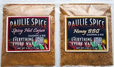 Paulie Spice : BBQ Seasoning and Rub Set (2 Flavors) : Sweet Honey BBQ and Spicy Hot Cajun for: Steak, Ribs, Rib, Meat, Pork, Chicken, Wings, Beef, Brisket, Salmon, Prime Rib, Fish, Seafood, Grill, Grilling, Smoked, Barbecue, Dry, Rubs, Seasonings, Spices, All Purpose by Paulie Spice -- Awesome products selected by Anna Churchill
