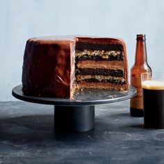 This recipe is all about planning, as it's worth every single second spent making it. It's an epic assemblage of rich chocolate cake, tangy espresso cheesecake, nutty German chocolate filling and buttercream, all enrobed in dark chocolate ganache. Sour Cream Chocolate Cake, Chocolate Filling, German Chocolate, Chocolate Desserts, Chocolate Ganache, Layer Cake Recipes, Dessert Recipes, Layer Cakes, Brownie Recipes