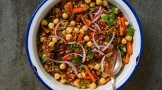 Super Chickpea + Wheat Berry Veggie Salad - in pursuit of more #wheatberry #wheat #parfait #healthy #homegrown #Farm #wheatrecipes Wheat Berry Recipes, Wheat Berry Salad, Chickpea Recipes, Vegetarian Recipes, Healthy Recipes, Chickpea Salad, Delicious Recipes, Free Recipes, Salad Recipes