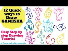 """In this video, You will learn how to draw 12 quick sketches of Ganesha for decoration in step by step tutorial for kids. Welcome to our channel 'Arty Couple"""". Ganesha Sketch, Ganesha Drawing, Drawing For Beginners, Drawing For Kids, Ganpati Drawing, Quick Sketch, Step By Step Drawing, Dot Painting, Bottle Art"""