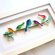 Birds wall art Birds art Birds on a wire Birds decor Christmas gifts Framed Bird lovers gift New home Nursery Little birds sign . Paper Quilling Flowers, Paper Quilling Patterns, Paper Quilling Jewelry, Origami And Quilling, Quilled Paper Art, Quilling Paper Craft, Quilling Craft, Paper Crafts, Quilled Roses