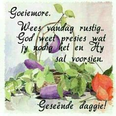 Good Morning Good Night, Good Morning Wishes, Good Morning Quotes, Merry Christmas Message, Christmas Messages, Lekker Dag, Daughter Poems, Afrikaanse Quotes, Cosmos Flowers