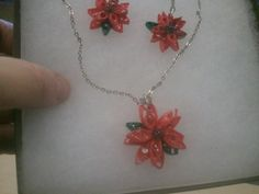 Quilled Paper Poinsettia earrings and necklace