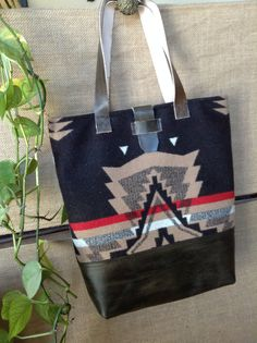 Large Leather and Pendleton® Wool Totebag tan by AnimasLeather