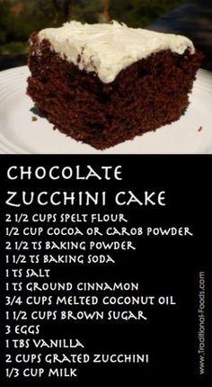 Chocolate Zucchini Cake Recipe @ Traditional-Foods.com