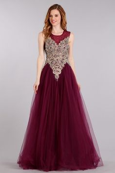 Floor Length, A-Line Prom and Evening Gown has Multilayered Mesh Skirt featuring Ornate Embroidery and Detail Gemstones Embellished Sleeveless Bodice with Jewel Neckline, Sheer Back and Side Zipper Closure.