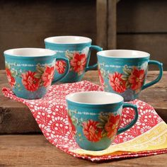 The Pioneer Woman Vintage Floral Teal 16-Ounce Mug Set, Set of 4