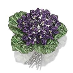 'Homage à Dürer', a Tsavorite garnet, amethyst and diamond 'violet bouquet'…