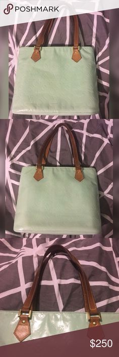 Mint Louis Vuitton houston bag Custom painted Louis Vuitton mint Houston bag. Handles have nice patina and inside is Cinderella blue. It does have cracking mainly under zipper as shown in second to last pic. Date code is TH1919 Louis Vuitton Bags Shoulder Bags