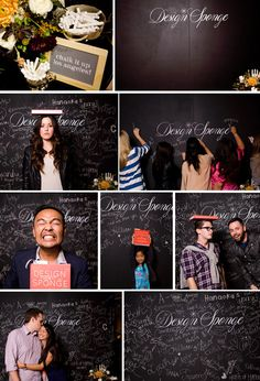 I want this. Very Much. Chalkboard Photobooth Backdrop, but minus the whole design sponge logo...