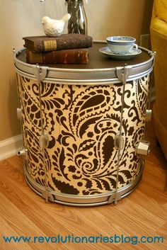 Make an accent table out of a drum - Stenciled Drum Table
