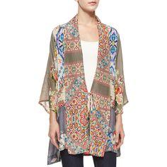 Johnny Was Collection Half-Sleeve Mixed-Print Kimono Jacket ($295) ❤ liked on Polyvore featuring plus size fashion, plus size clothing, plus size outerwear, plus size jackets, multi colors, draped jacket, multi colored jacket, pattern jacket, colorful jackets ve print kimono