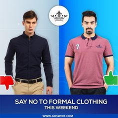 Say goodbye to the work week and #formalclothing this weekend. Pair your #jeans with #Tshirt or #shirt and feel a bit different. Shop for #menwear at http://www.goswhit.com/