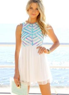 White+Mini+Dress+with+Pastel+Print+Top+and+Tulle+Overlay,++Dress,+high+neckline++sleeveless++print+dress,+Chic