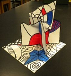 5th gr; line, neg/pos space; colors; organic/geo shape.  First lesson? Use zentagles? Cool Dubuffet Sculptures!