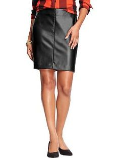 Womens Faux-Leather Pencil Skirts