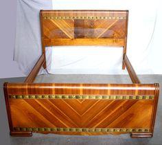 Vintage Deco Waterfall Wood Full Size Bed Frame Head Foot Board Headboard Rails #ArtDeco