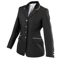 Vêtements concours Equitation - Veste concours noire femme REYNALD - Equipement du cavalier BLACK