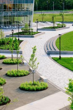 Aerial view of seating areas and #paseo #landscapeforms #landscapearchitecture #pemberton