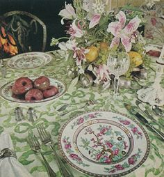 Table top by mario buatta features Indian Tree china by Aynsley. Published Nov 1977 House Beautiful