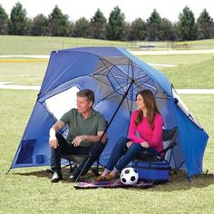 The Instant 8' Diameter Shelter  -- This is the 8' diameter instant shelter that opens like an umbrella to protect three or more adults from the sun, rain, and wind. Perfect for camping, the beach, or an outdoor concert or sporting event, the shelter can either be used upright or leaned on its side for 270° of protection.