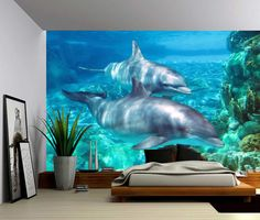 Dolphin Underwater World - Large Wall Mural, Self-adhesive Vinyl Wallpaper, Peel…