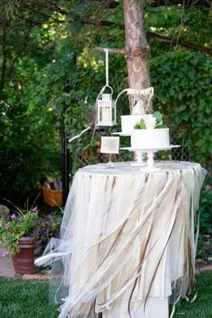Wedding details:  Gold, taupe.  Cake table.  DIY ribbon tablecloth.
