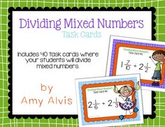 Dividing Mixed Numbers - Fractions - Task Cards - SCOOT, $ Math Task Cards, Fractions, Cover Pages, Mathematics, Numbers, Divider, Percents, Education, Math