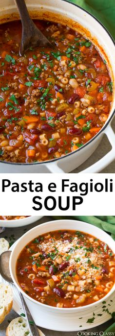 Pasta e Fagioli Soup – a reader favorite and family favorite recipe! We make thi… Pasta e Fagioli Soup – a reader favorite and family favorite recipe! We make this regularly because it's just so good! Even better than Olive Garden's Crockpot Recipes, Soup Recipes, Dinner Recipes, Cooking Recipes, Restaurant Recipes, Chicken Recipes, Baked Chicken, Dinner Soups, Kfc Restaurant