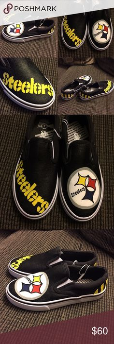 Handpainted Steelers Shoes Hand-Painted Pittsburgh Steelers Slip-On Sneakers - Brand New! NWT  - Boy's Size 1 - Primed, painted, and sealed! These will withstand outdoor weather - Awesome NFL football game day accessory to show off at a Steeler Nation party, tailgate, Super Bowl party, etc. - Also listed on Mercari (different rates) Shoes